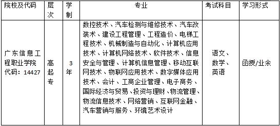 广东信息工程职业学院成人高等教育招生简章